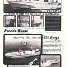 Old Kenner Boat Co Ad- Photo of Suwanee 47 & Ski Barge