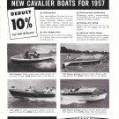 1957 Cavalier Boats Ad- Photo of 4 Models