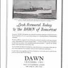 "1929 Dawn Cruisers Ad- Nice Photo of Dawn Yacht ""Tonya II"""