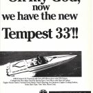 1986 Tempest 33' Boat Ad- Nice Photo