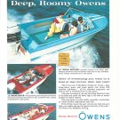 1962 Owens Boats Color Ad- Nice Photo of 16'- 15' & 18'