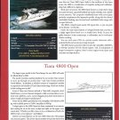 2001 Tiara 3800 & 4800 Open New Boats Ad- Specxs- Photo & Drawing