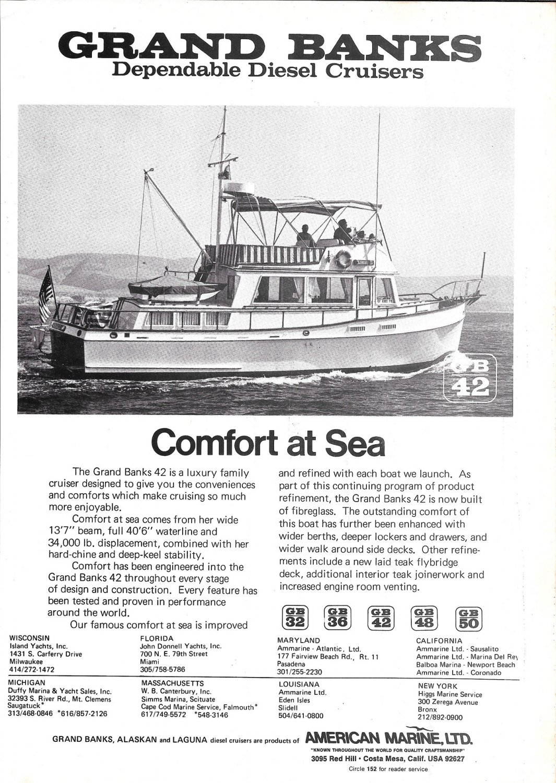 1974 American Marine LTD Grand Banks 42 Yacht Ad- Nice Photo