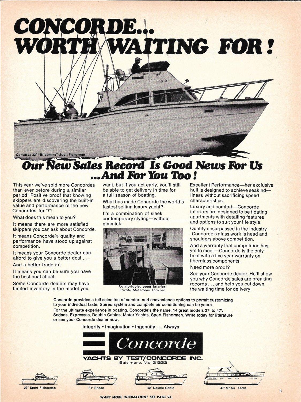 1971 Concorde 33' Brigantine Sport Fisherman Yacht Ad- Nice Photo