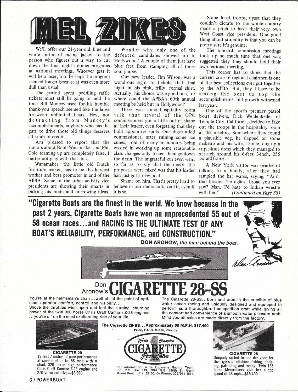 1973 Don Aronow World Cigarette Racing Boats Ad- Drawing & Photos