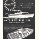 1958 Cruis Along Boats Ad- Drawing of Clipper 28