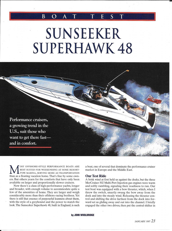 1997 Sunseeker Superhawk 48 Yacht Review- Nice Photos & Specs