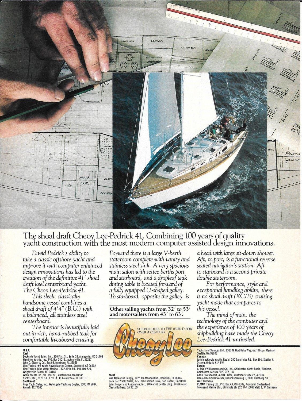 1983 Cheoy Lee Pedrick 41 Yacht Color Ad- Nice Photo