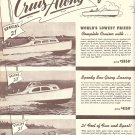 1949 Cruis Along Boats 4 Page Ad- Specs & Nice Photos of 7 Models