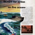 1941 Sterling Engine Co Color Ad- Nice Drawing Navy Aircraft Rescue Boat