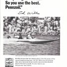 1972 Pennzoil Racing Oil Ad- Nice Photo of Racing Drag Boat- Ed Wills