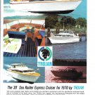 1970 Trojan 30' Sea Raider Express Cruiser Yacht Color Ad- Nice Photos