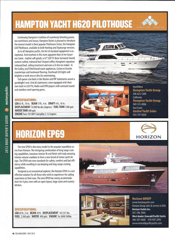 2012 Hampton H620 & Horizon EP69 New Yachts Color Ad- Photos & Boat Specs