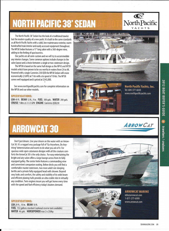 2012 ARROWCAT 30 & North Pacific 38 New Yachts Ad- Photos & Boat Specs