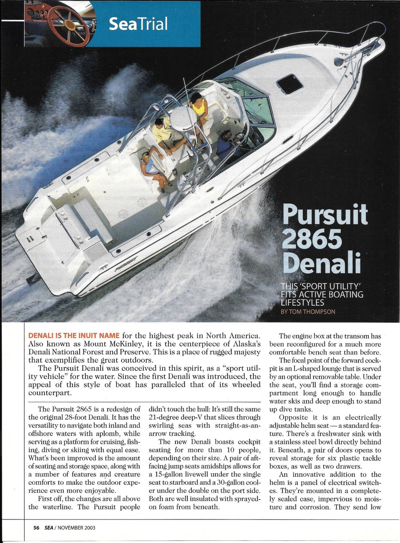 2004 Pursuit 2865 Denali Yacht Review- Boat Specs & Nice Photos