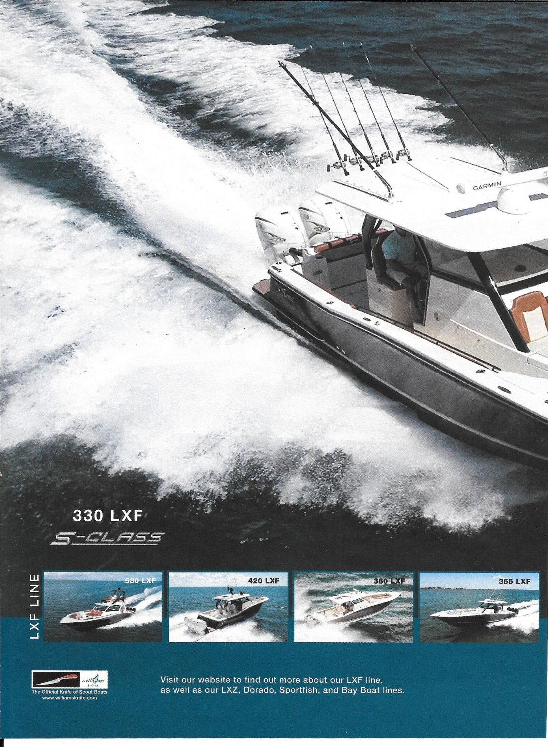 2021 Scout 330 LXF S- Class Yacht 2 Page Color Ad- Nice Photo
