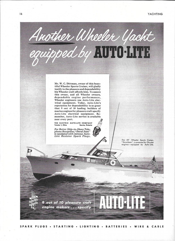 "1953 Auto- Lite Ad- Nice Photo of Wheeler 39' Yacht ""DoralJean"""
