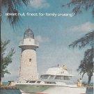 1963 Bertram 38 Fly Bridge Cruiser Yacht 2 Page Color Ad- Nice Photo- Lighthouse