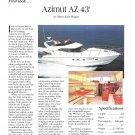 1996 Azimut AZ 43' Yacht Color Ad- Nice Photo & Boat Specs