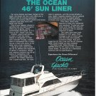 1984 Ocean 46' Sun Liner Yacht Color Ad- Nice Photo