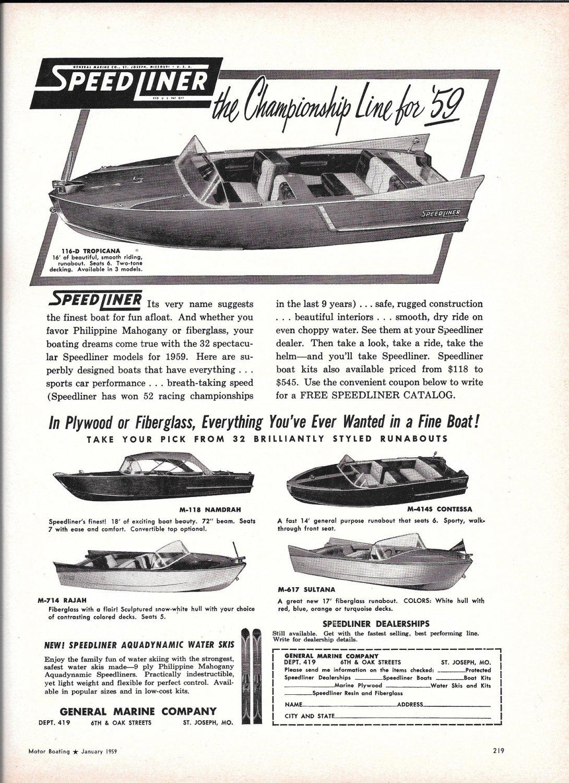 1959 Speedliner Boats Ad- Photos of 5 Models