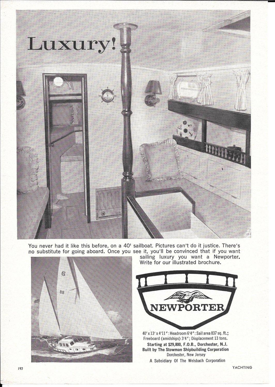 1963 Newporter 40' Sailboat Ad- Nice Photo