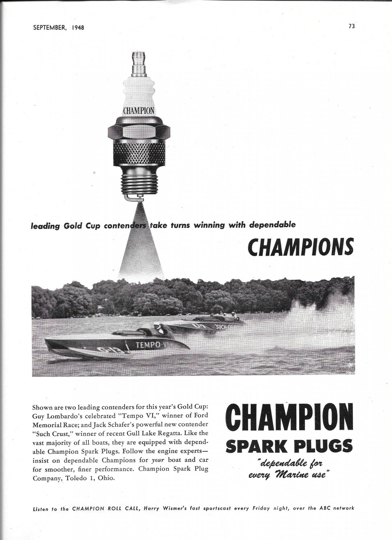 1948 Champion Spark Plugs Ad- Nice Photo of Tempo VI Hydroplane