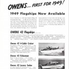 1949 Owens Yacht Co 2 Page Ad- Photos of 6 Models
