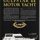 1984 Gulfstar 44 Motor Yacht Color Ad- Boat Specs & Drawing