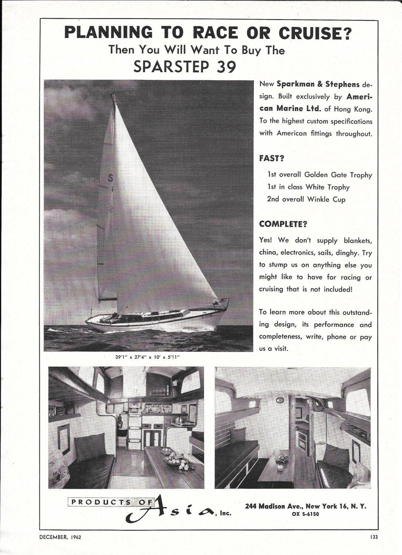 1963 Asia Sparstep 39 Yacht Ad- Nice Photos