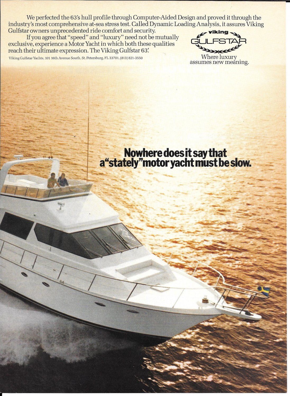 1988 Gulfstar 63' Yacht 2 Page Color Ad- Nice Photo