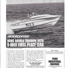 1976 Ford Marine Engines Ad- Great Photo of Donzi 28 Boat- Airborne