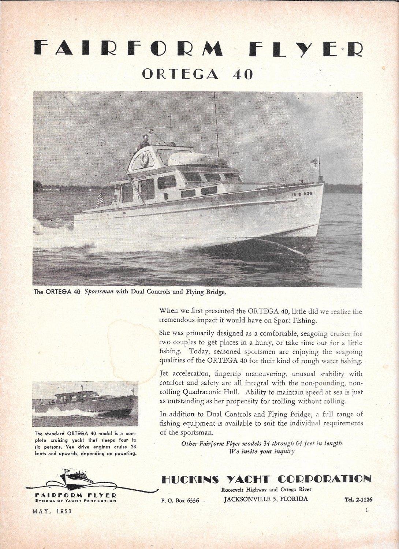 1953 Huckins Yacht Corp Ad- Nice Photo Fairform Flyer Ortega 40