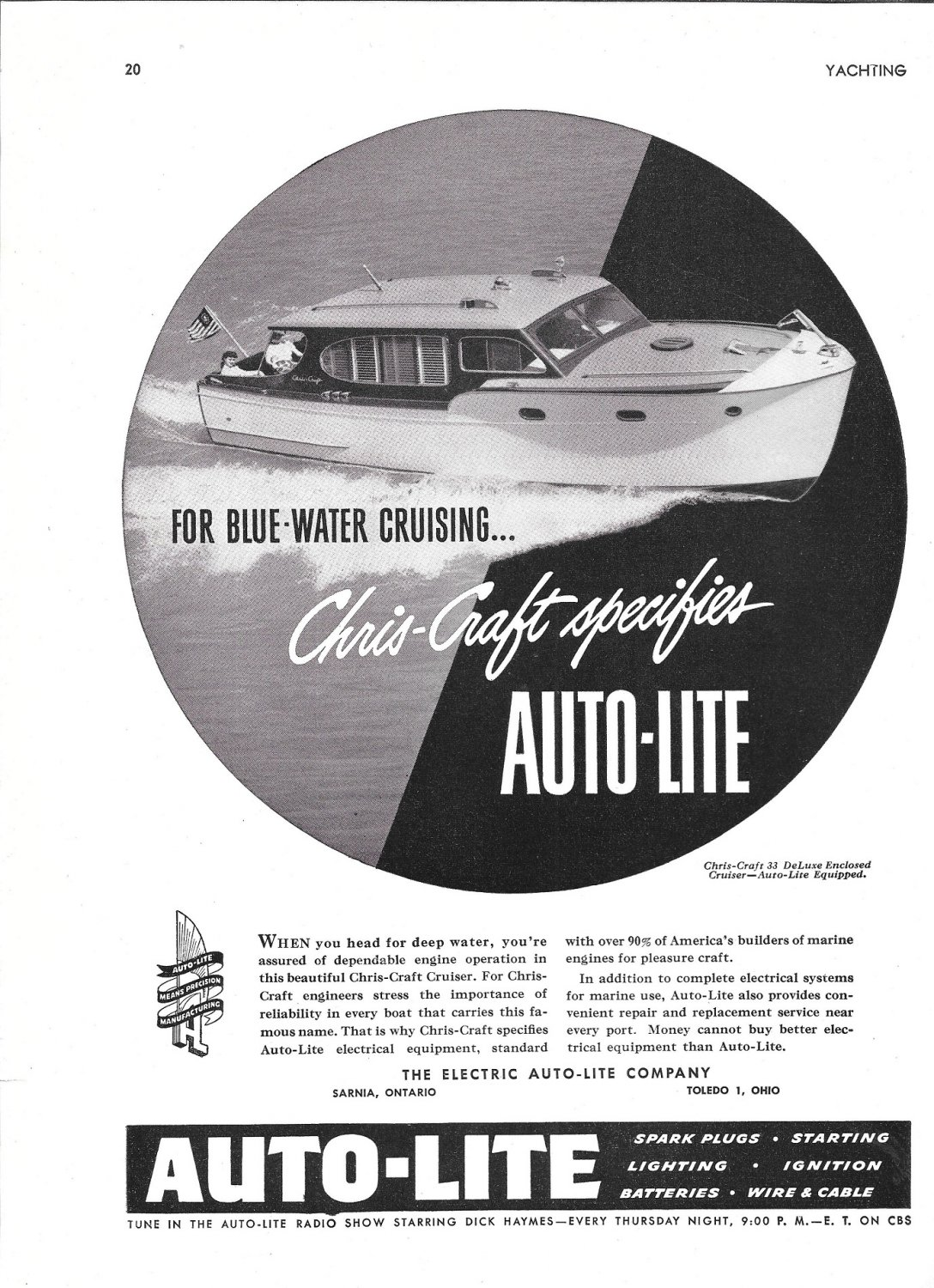 1948 Auto- Lite Ad- Nice Photo of Chris- Craft 33 Deluxe Yacht