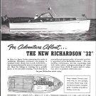 Old Richardson 32' Sport Cruiser Boat Ad- Nice Photo & Boat Specs
