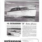 1949 Richardson 31' Sedan Cruiser Yacht Ad- Nice Photo