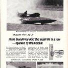 1965 Champion Spark Plugs Ad- Nice Photo Hydroplane Miss Bardahl