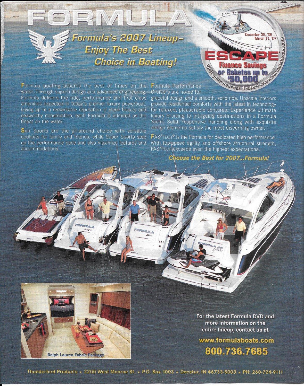 2007 Thunderbird Formula Boats Color Ad- Nice Photo of 4 Models