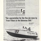 "1970 Fram Filters Ad- Great Photo of Bertram Boat ""American Moppie"" Rittmaster & James"