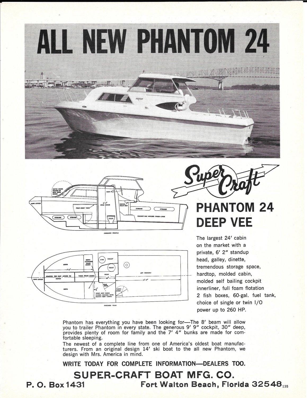 1969 Super- Craft Phantom 24 Deep Vee Boat Ad- Nice Photo