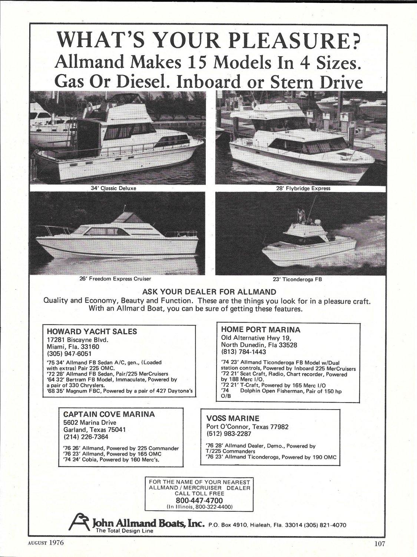 1976 John Allmand Boats Ad- Photos of 34'- 26- 23 & 28