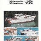 1966 Chris- Craft Crusader Yachts 2 Page Color Ad- Nice Photos 28- 30- 36