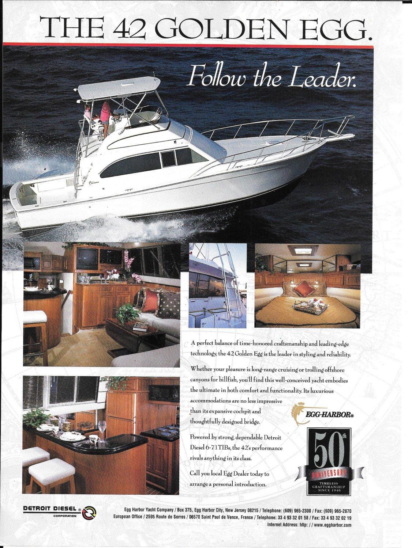 1997 Egg Harbor 42 Golden Eagle Yacht Color Ad- Nice Photo