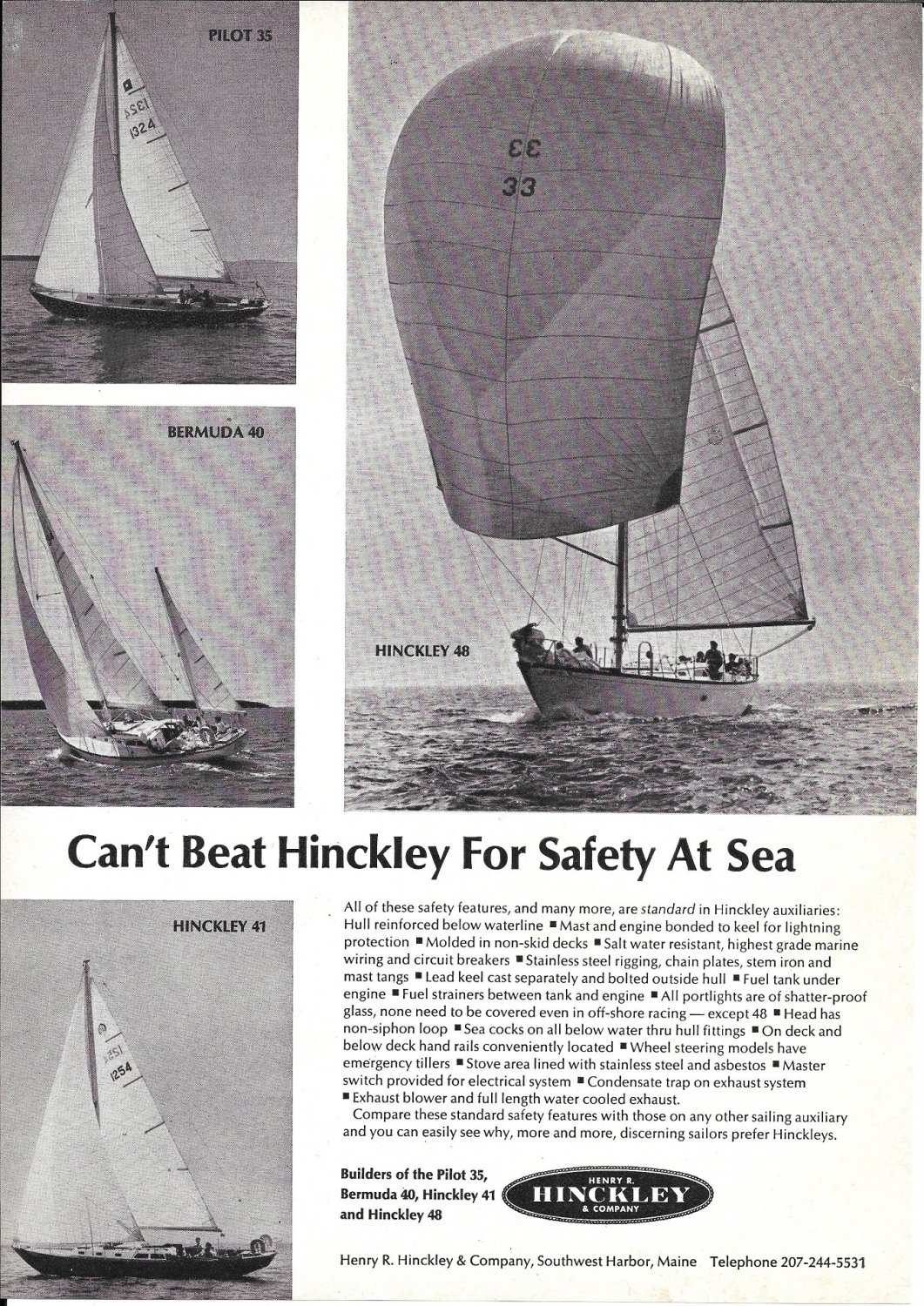 1967 Henry Hinckley Yachts Ad- Photos of 48- 41- 40 & 35