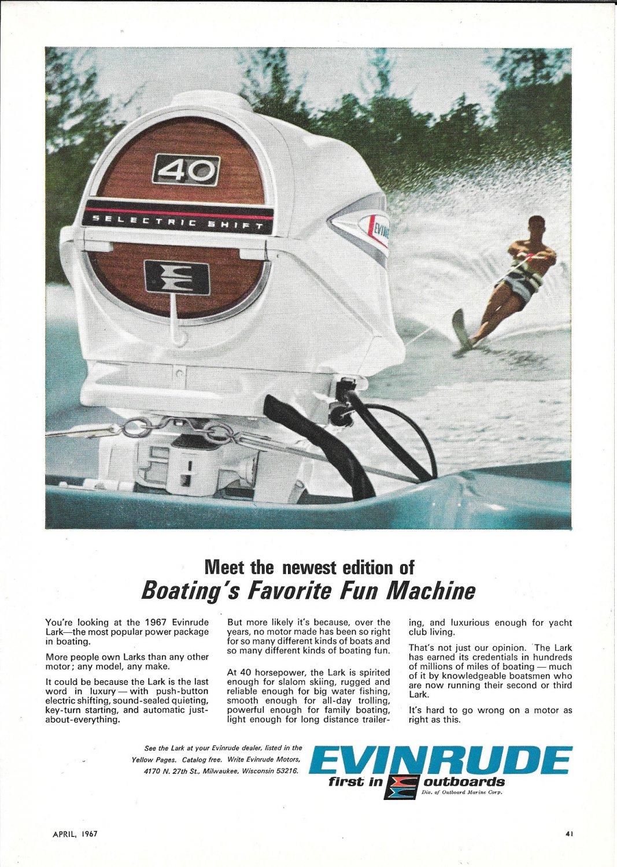 1967 Evinrude Lark 40 HP Outboard Motor Color Ad- Nice Photo