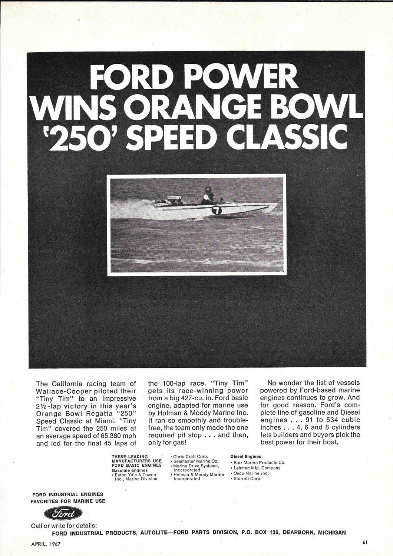 1967 Ford Marine Engines Ad- Photo Racing Boat Tiny Tim- Orange Bowl 250