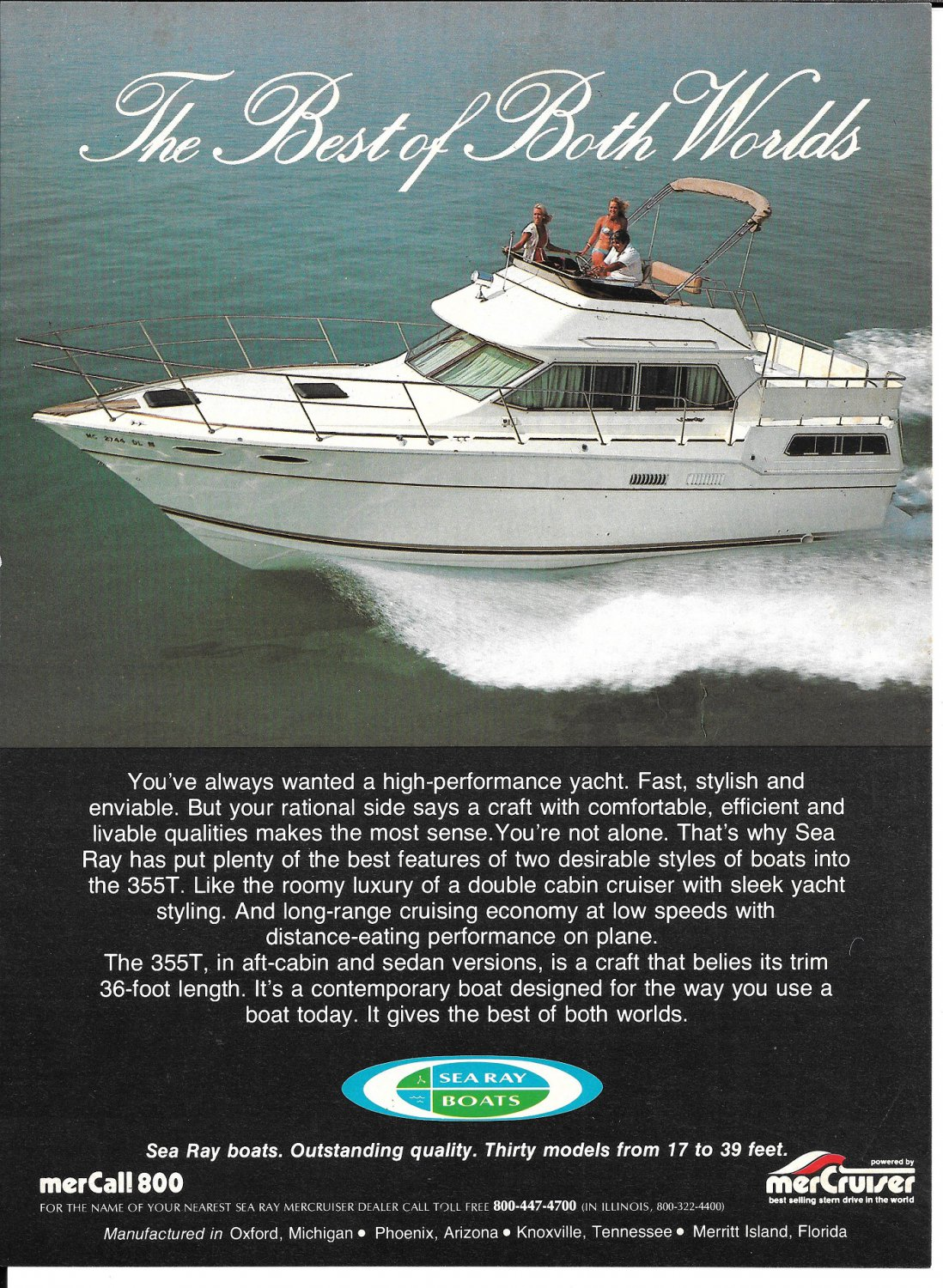 1983 Sea Ray 355T Boat Color Ad- Nice Photo- Hot Girls