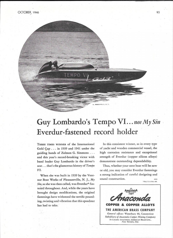 1946 Anaconda Copper Ad- Nice Photo Hydroplane Tempo VI- Guy Lombardo