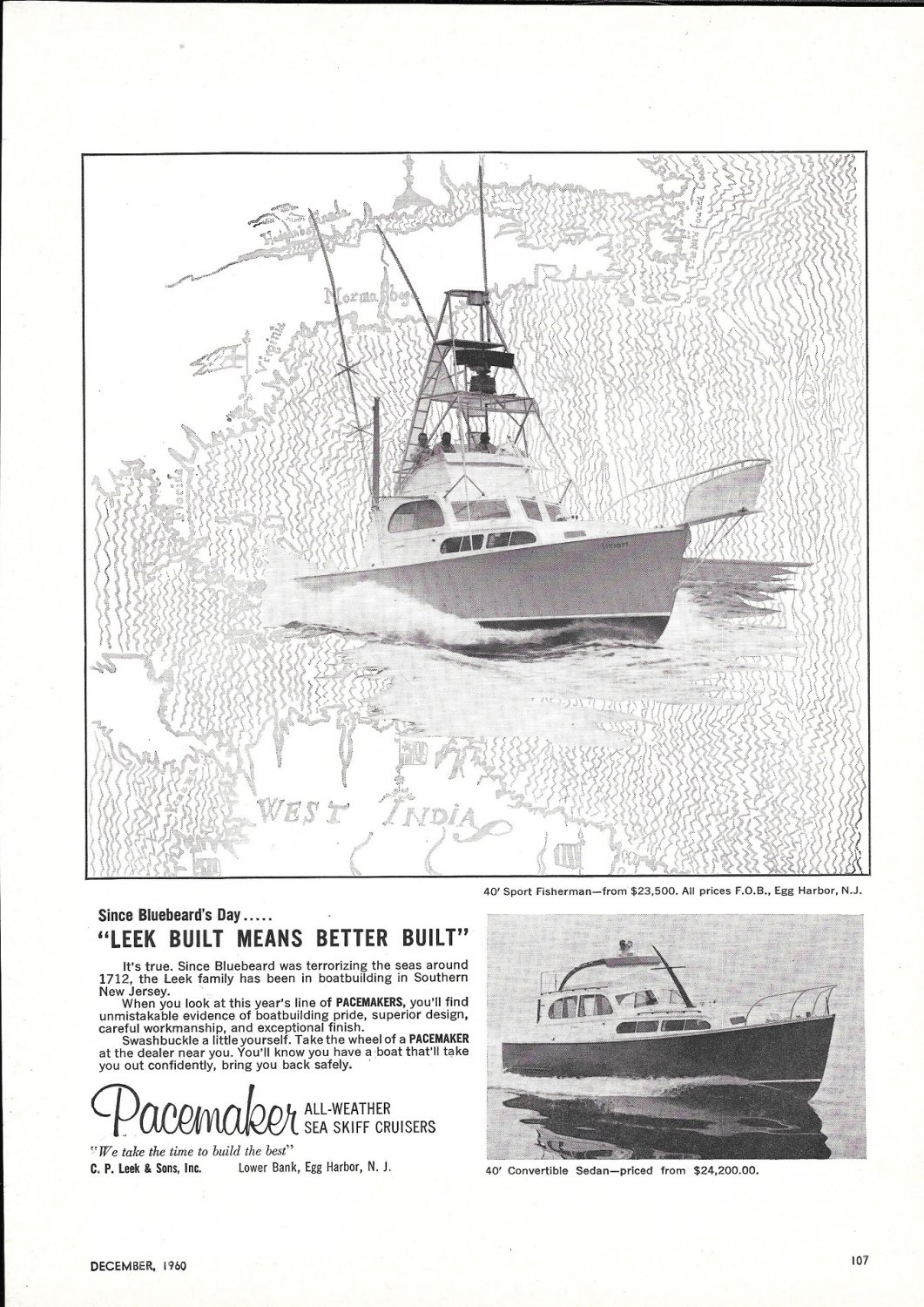 1961 Pacemaker 40 Sport Fisherman Boat 2 Page Ad- Nice Photo