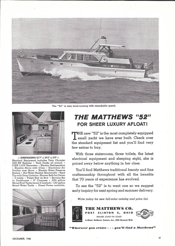 1961 Matthews 52 Yacht Ad- Nice Photo